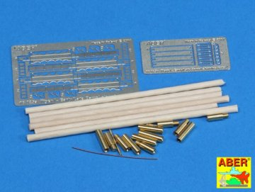 Barrel cleaning rods with brackets for Tiger I early / late / Kanonenputzset · AB 16025 ·  Aber · 1:16