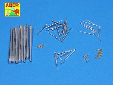 Set of barrels for Bismarck  8 x 380mm | 12 x 150mm  | 16 x 105mm | 16 x 37mm | 22 x 20mm · AB 200L-04 ·  Aber · 1:200