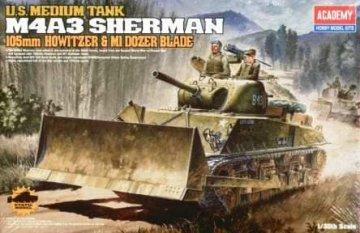 M4A3 Sherman - 105 mm Howitzer & M1 Dozer Blade · AY 13207 ·  Academy Plastic Model · 1:35