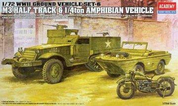 WWII Ground Vehicle Set-6 M3 Half Track & 1/4ton Amphibian Vehicle · AY 13408 ·  Academy Plastic Model · 1:72