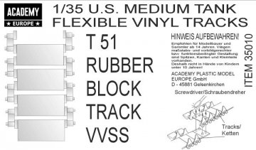 T51 RUBBER BLOCK TRACK VVSS (3 Sets) · AY 35010 ·  Academy Plastic Model · 1:35