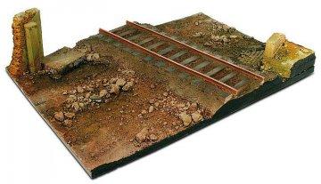 Diorama-Sockel, 31x21 cm, Landstraße mit Bahnübergang · VAL 03549 ·  Acrylicos Vallejo · 1:35