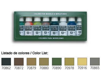 Model Color Set 08: Panzer Colours (8) · VAL 70108 ·  Acrylicos Vallejo