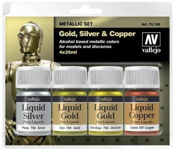 Model Color Set Liquid Gold Set (4) · VAL 70199 ·  Acrylicos Vallejo