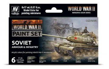 Farb-Set, Sowjetische Panzerung und Infanterie, WWII (6x17ml) · VAL 70202 ·  Acrylicos Vallejo