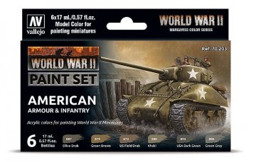 Farb-Set, US-amerikanische Panzerung und Infanterie, WWII (6x17ml) · VAL 70203 ·  Acrylicos Vallejo