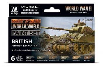 Farb-Set, Britische Panzerung und Infanterie, WWII (6x17ml) · VAL 70204 ·  Acrylicos Vallejo