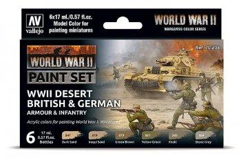 Farb-Set, Deutsche & Britische Infanterie, Wüstenfarben WWII (6x17ml) · VAL 70208 ·  Acrylicos Vallejo