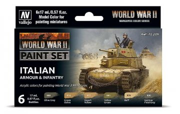 Farb-Set, Italienische Panzerung & Infanterie, WWII (6x17ml) · VAL 70209 ·  Acrylicos Vallejo