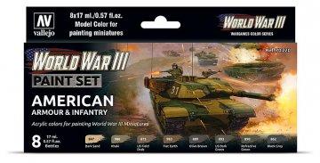 Farb-Set, US-amerikanische Panzerung und Infanterie, WWIII (8x17ml) · VAL 70220 ·  Acrylicos Vallejo
