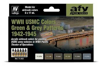 Farb-Set - WWII USMC, Grün & Grau Tarnung · VAL 71623 ·  Acrylicos Vallejo