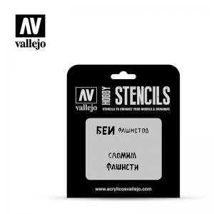 Schablone, sowjetische Schriften, WWII, Set 1 · VAL ST-AFV004 ·  Acrylicos Vallejo · 1:35