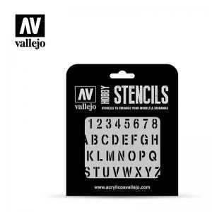 Schablone, Stempelschrift · VAL ST-LET002 ·  Acrylicos Vallejo · 1:35