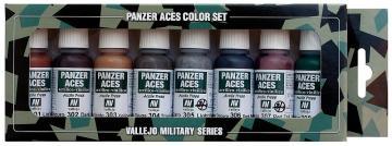 Panzer Aces Set No1 (8 Farben) (Rust, Tracks, Rubber) · VAL VA70122 ·  Acrylicos Vallejo
