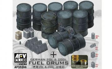 German 20L & 200L Fuel Drums · AF AF35266 ·  AFV-Club · 1:35