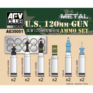 US M1A1/M1A2 M256 120mm Ammo set (Aluminum) · AF AG35051 ·  AFV-Club · 1:35