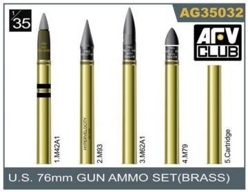 76mm gun ammo brass set · AF AG3532 ·  AFV-Club · 1:35