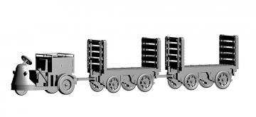 Schlepper 3-Rad mit 2 Trolleys PTT · ARW 888704 ·  Arwico Collector Edition · 1:87