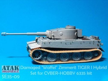 Damaged Waffel Zimmerit for TIGER I HYBRID · AT SE3509 ·  Atak Model · 1:35