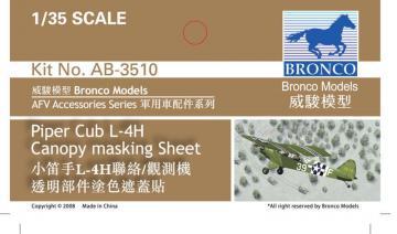Piper L4H canopy masking Sheet · BRON AB3510 ·  Bronco Models · 1:35