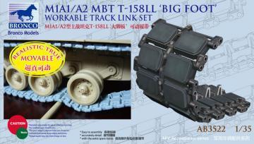 US M1A1/A2 MBT T-158LL Big Foot Workable Track Link Set · BRON AB3522 ·  Bronco Models · 1:35