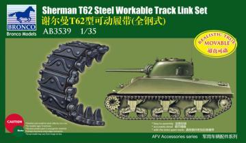 Shermann T62 Workable Track Link Set · BRON AB3539 ·  Bronco Models · 1:35