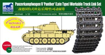 Panther Late Type Workable Track LinkSet · BRON AB3540 ·  Bronco Models · 1:35