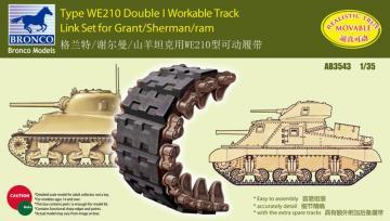 Sherman Double I Workable Track Link Set · BRON AB3543 ·  Bronco Models · 1:35