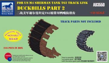 Duckbills part 2 For US M4 SHERMAN TANK T62 Track Link · BRON AB3550 ·  Bronco Models · 1:35