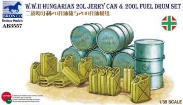 WWII Hungarian 20L Jerry Can & 200L Fuel Drum · BRON AB3557 ·  Bronco Models · 1:35
