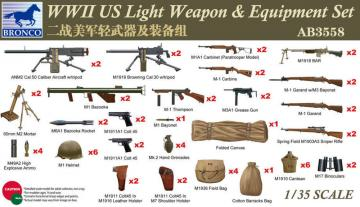 WWII US Light Weapon & Equipment Set · BRON AB3558 ·  Bronco Models · 1:35