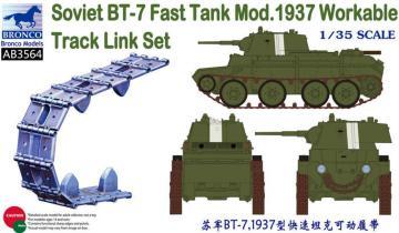 Soviet BT-7 Fast Tank Mod.1937 Workable Track Link Set · BRON AB3564 ·  Bronco Models · 1:35
