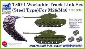 T-80E1 Workable Track Link Set(Steel Typ for M26/M46 · BRON AB3565 ·  Bronco Models · 1:35