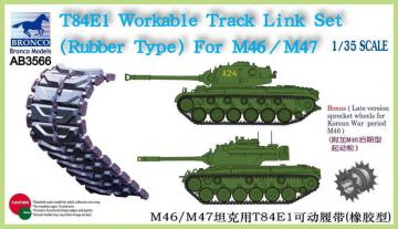 T-84E1 Workable Track Link Set(RubberTyp for M46/M47 · BRON AB3566 ·  Bronco Models · 1:35