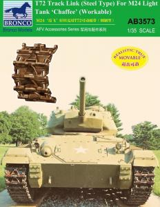 T-72 Track Link(Steel Type)for M24 Light Tank Chaffee (Workable · BRON AB3573 ·  Bronco Models · 1:35