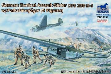 German Tactical Assault Glider DFS 230 B-1 w/Fallschirmjäger (4 Figuren) · BRON CB35039 ·  Bronco Models · 1:35