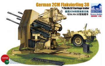 German 2cm Flakvierling 38 w/trailer · BRON CB35057 ·  Bronco Models · 1:35