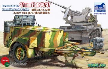 German Sd.Ah.52 37mm Flak Ammunition Carriage Trailer · BRON CB35079 ·  Bronco Models · 1:35