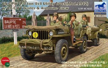 GPW 1/4 ton 4x4 Utility Track Mod.1942 w/10-CWT & Airborne Crew · BRON CB35106 ·  Bronco Models · 1:35