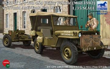 US GPW 4x4 Light Utility Truck w/37mm Anti-Tank Gun M3A1 · BRON CB35107 ·  Bronco Models · 1:35