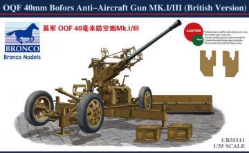 OQF 40mm Bofors Anti-aircraft Gun(Britis · BRON CB35111 ·  Bronco Models · 1:35