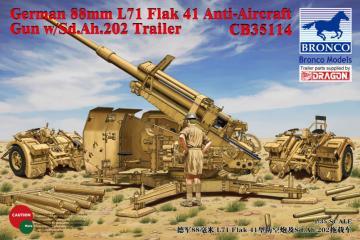 German 8.8cm L71 Flak41 Anti-Aircraft Gun w/Sd.Ah.202 Trailer · BRON CB35114 ·  Bronco Models · 1:35