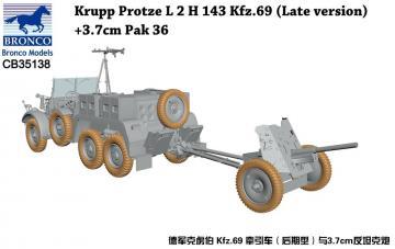 Krupp Protze L 2 H 143 Kfz.69(Late versi +3.7cm Pak 36 · BRON CB35138 ·  Bronco Models · 1:35