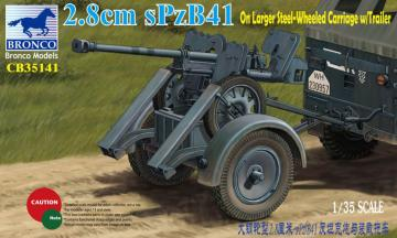 2.8cm sPzb41 On Larger Steel-Wheeled carriage w/Traile · BRON CB35141 ·  Bronco Models · 1:35