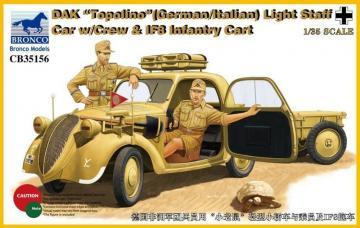 DAK Topolino (German-Italian)Light Staff Car w/Crew & IF8 Intantry Cart · BRON CB35156 ·  Bronco Models · 1:35