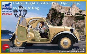 Italian Light Civilian Car(Open Top) w/Lady & Dog · BRON CB35165 ·  Bronco Models · 1:35