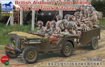 British Airborne Troops Riding In 1/4Ton Truck & Trailer · BRON CB35169 ·  Bronco Models · 1:35