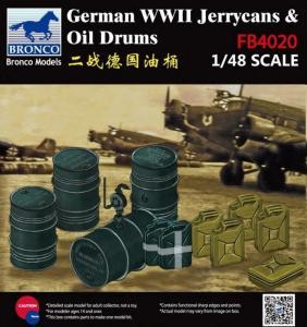 WWII German Jerry Can & Fuel Drum · BRON FB4020 ·  Bronco Models · 1:48