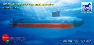 USS SSN Sea-Wolf attack submarine · BRON NB5001 ·  Bronco Models · 1:350