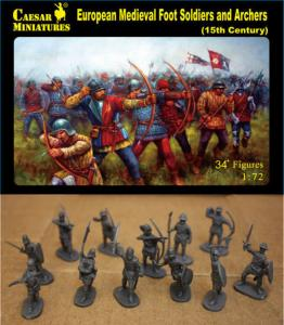 European Medieval Foot Soldiers+Archgers · CAE H088 ·  Caesar Miniatures · 1:72